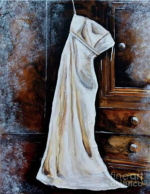 Wedding Dress On Armoire Poster by Patricia Panopoulos