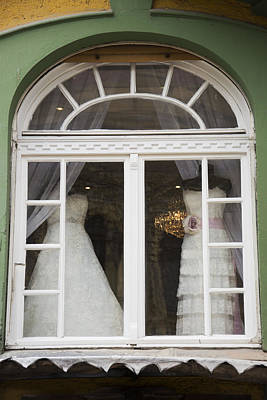 Wedding Gowns In Window Poster by Newnow Photography By Vera Cepic