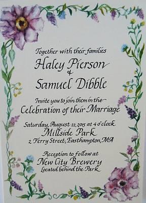 Wedding Invitation Poster by Valerie Bassett