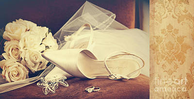 Wedding Shoes With Veil On Velvet Chair Poster by Sandra Cunningham