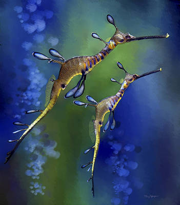 Poster featuring the digital art Weedy Sea Dragon by Thanh Thuy Nguyen