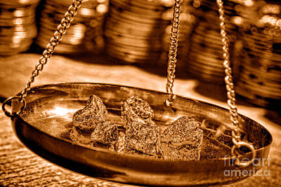 Weighing Gold - Sepia Poster