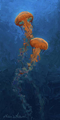 Poster featuring the painting Weightless - Pacific Nettle Jellyfish Study  by Karen Whitworth