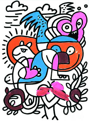 Weird Monsters Doodle Colorful Drawing Poster