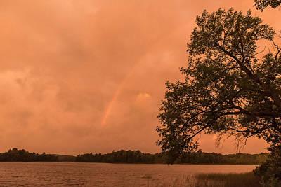 Strange Orange Sunrise With Rainbow Poster