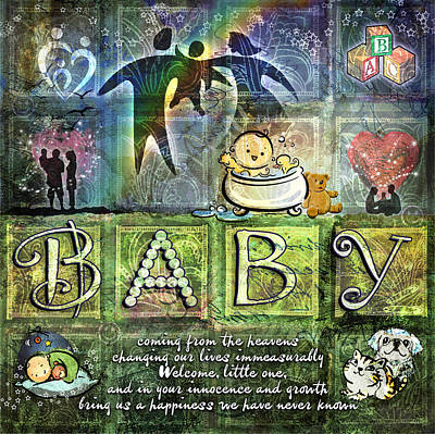 Poster featuring the digital art Welcome Baby by Evie Cook