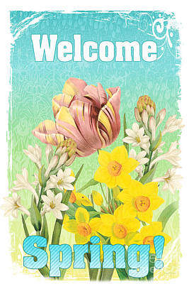 Welcome Spring Flowers-jp2775 Poster by Jean Plout