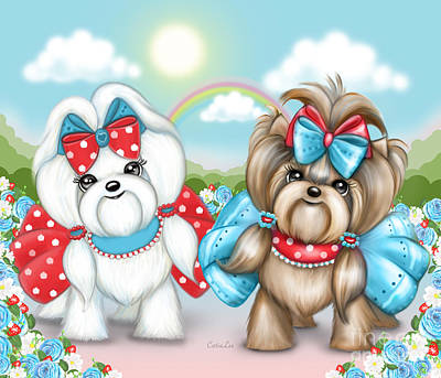 Poster featuring the painting Welcome Spring Maltese And Yorkie by Catia Lee