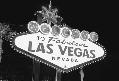 Welcome To Las Vegas Neon Sign - Nevada Usa - Black And White Poster by Gregory Ballos