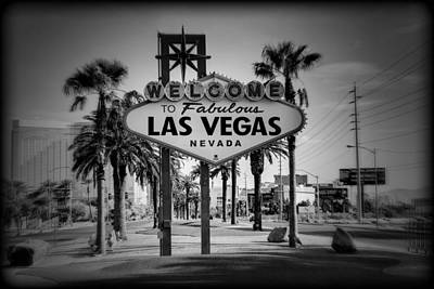 Welcome To Las Vegas Series Holga Black And White Poster by Ricky Barnard