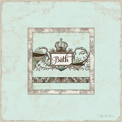 Welcome To Our Nest - Bath Vintage Birds W Crown Poster by Audrey Jeanne Roberts