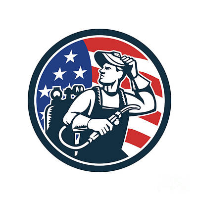 Welder Looking Side Usa Flag Circle Retro Poster by Aloysius Patrimonio