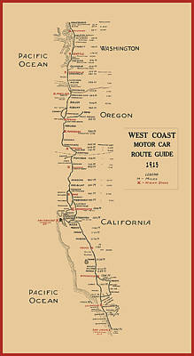 West Coast Motor Car Route Map  1915 Poster