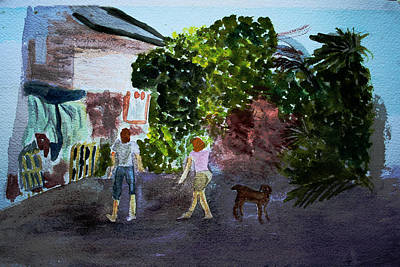 Poster featuring the painting West End Shopping by Donna Walsh