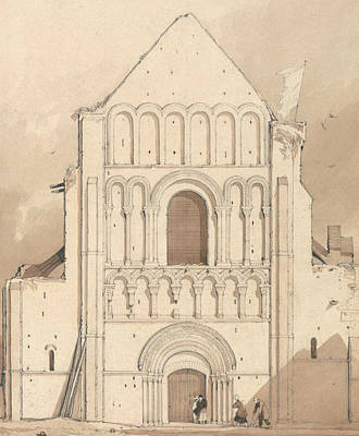 West Front Of The Church Of Oyestraham Poster by John Sell Cotman