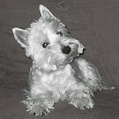 Poster featuring the digital art West Highland White Terrier by Charmaine Zoe