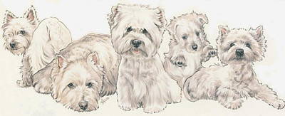 West Highland White Terrier Puppies Poster by Barbara Keith