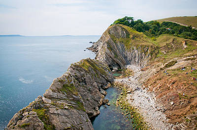West Lulworth Lagoon The Natural Lagoon Behind The Jurassic Cliffs West Of Lulworth Cove Dorset Poster by Andy Smy