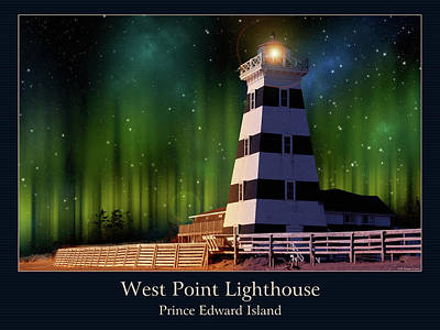West Point Lighthouse Night Scene Poster