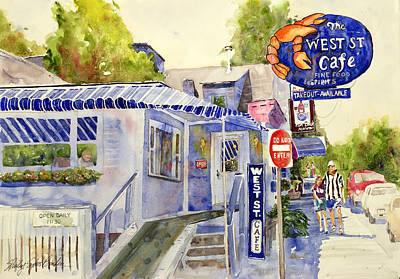 West Street Cafe Poster by Shirley Sykes Bracken