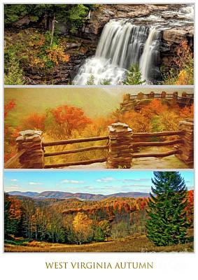West Virginia Autumn Triptych Poster by Kathleen K Parker