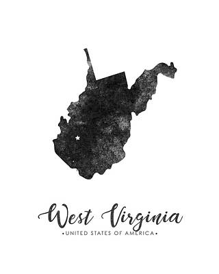 West Virginia State Map Art - Grunge Silhouette Poster