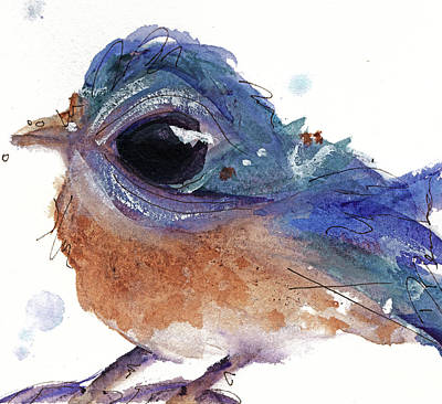 Poster featuring the painting Western Bluebird by Dawn Derman