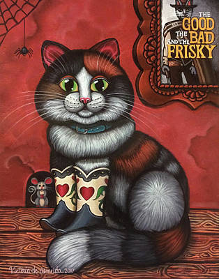 Western Boots Cat Painting Poster