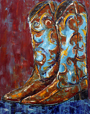 Poster featuring the painting Western Boots by Jennifer Godshalk