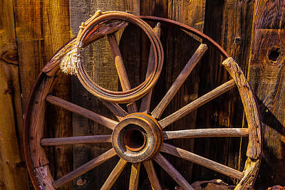 Western Rope And Wooden Wheel Poster by Garry Gay