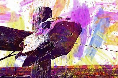 Poster featuring the digital art Western Skull Farm Trophy Skeleton  by PixBreak Art
