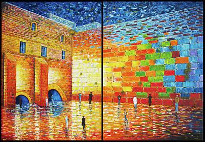 Western Wall Jerusalem Wailing Wall Acrylic Painting 2 Panels Poster