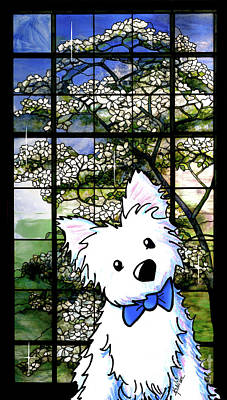 Westie At Dogwood Window Poster by Kim Niles