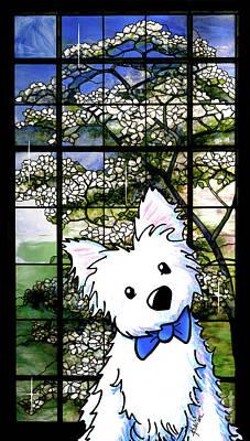 Westie At Dogwood Window Poster