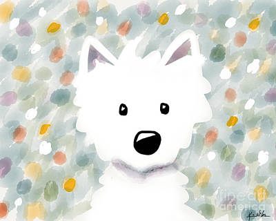 Westie Floral Impression Poster by Kim Niles