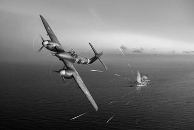 Poster featuring the photograph Westland Whirlwind Attacking E-boats Black And White Version by Gary Eason