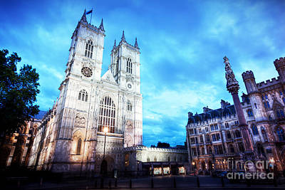 Westminster Abbey Church Facade At Night, London Uk. Poster