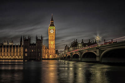 Westminster At Night Poster by Martin Newman