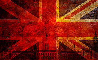 Westminster Palace Union Jack Flag Grunge Texture Background Poster by Jit Lim