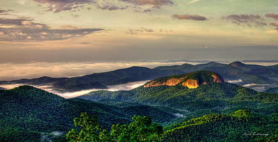 Poster featuring the photograph Looking Glass Rock Sunrise Between The Clouds Blue Ridge Parkway by Reid Callaway