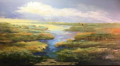 Poster featuring the painting Wetlands by Helen Harris