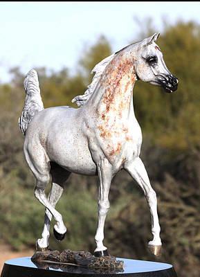 Wh Justice Arabian Stallion Bronze Sculpture Poster by J Anne Butler