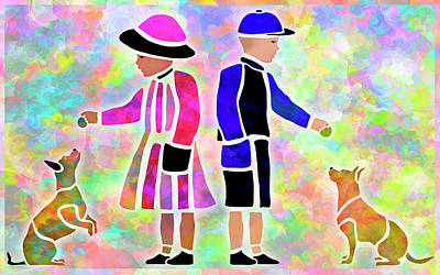 What A Treat - Kids And Dogs Stencil Portrait Poster
