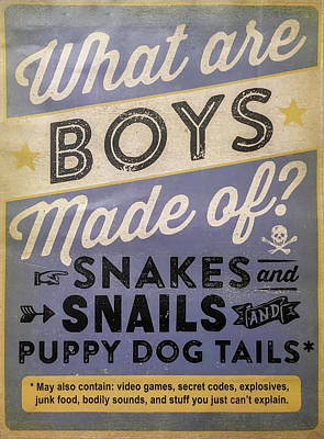What Are Boys Made Of Signage Art Poster by Reid Callaway