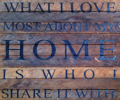 Poster featuring the digital art What I Love Most About My Home by Chris Flees