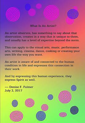 Poster featuring the digital art What Is An Artist? by Denise Fulmer