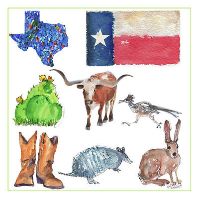 What Texas Loves, Texas Longhorn Watercolor Painting By Kmcelwaine Poster by Kathleen McElwaine