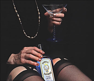 Sexy Black Nylons And Gin Bottle Poster