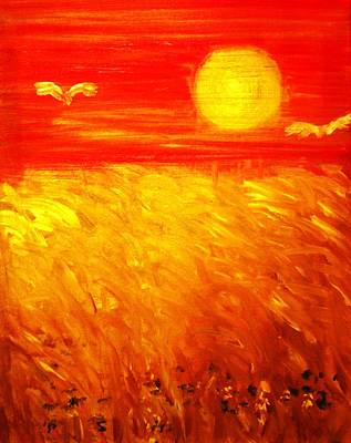 Poster featuring the painting Wheat Field by Evelina Popilian