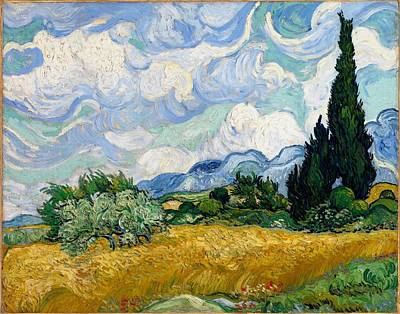Poster featuring the painting Wheatfield With Cypresses by Van Gogh
